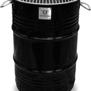 BarrelQ - Small industrieel houtskool Barbecue- BBQ vuurkorf en statafel in één 60L olievat zwart (8719326038919)