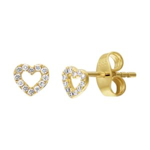 The Jewelry Collection Oorknoppen Hart Diamant 0.07ct (2x0.035ct) H P1 - Geelgoud (8718834525935)