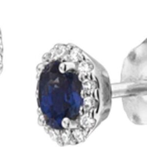 The Jewelry Collection Oorknoppen Saffier Diamant 0.09ct (2x0.045ct) H Si - Witgoud (8718834539611)