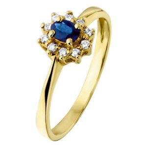 The Jewelry Collection Ring Saffier En Diamant 0.08 Ct. - Geelgoud (8718834246267)