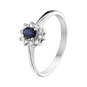 The Jewelry Collection Ring Saffier En Diamant 0.08 Ct. - Witgoud (8718834396290)
