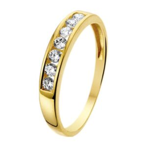 The Jewelry Collection Ring Zirkonia - Geelgoud (8718834049578)