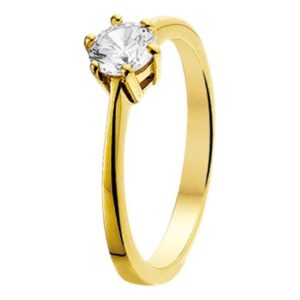The Jewelry Collection Ring Zirkonia - Geelgoud (8718834139224)