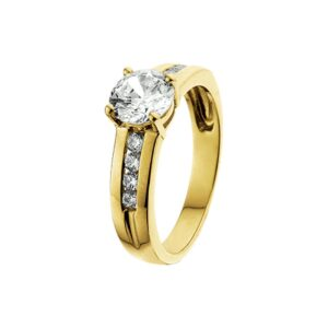 The Jewelry Collection Ring Zirkonia - Geelgoud (8718834190263)